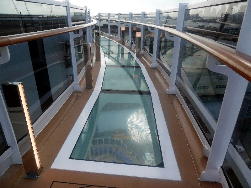 Bridge of Sighs glass floored catwalk on the 16th deck aft, MSC Seaside