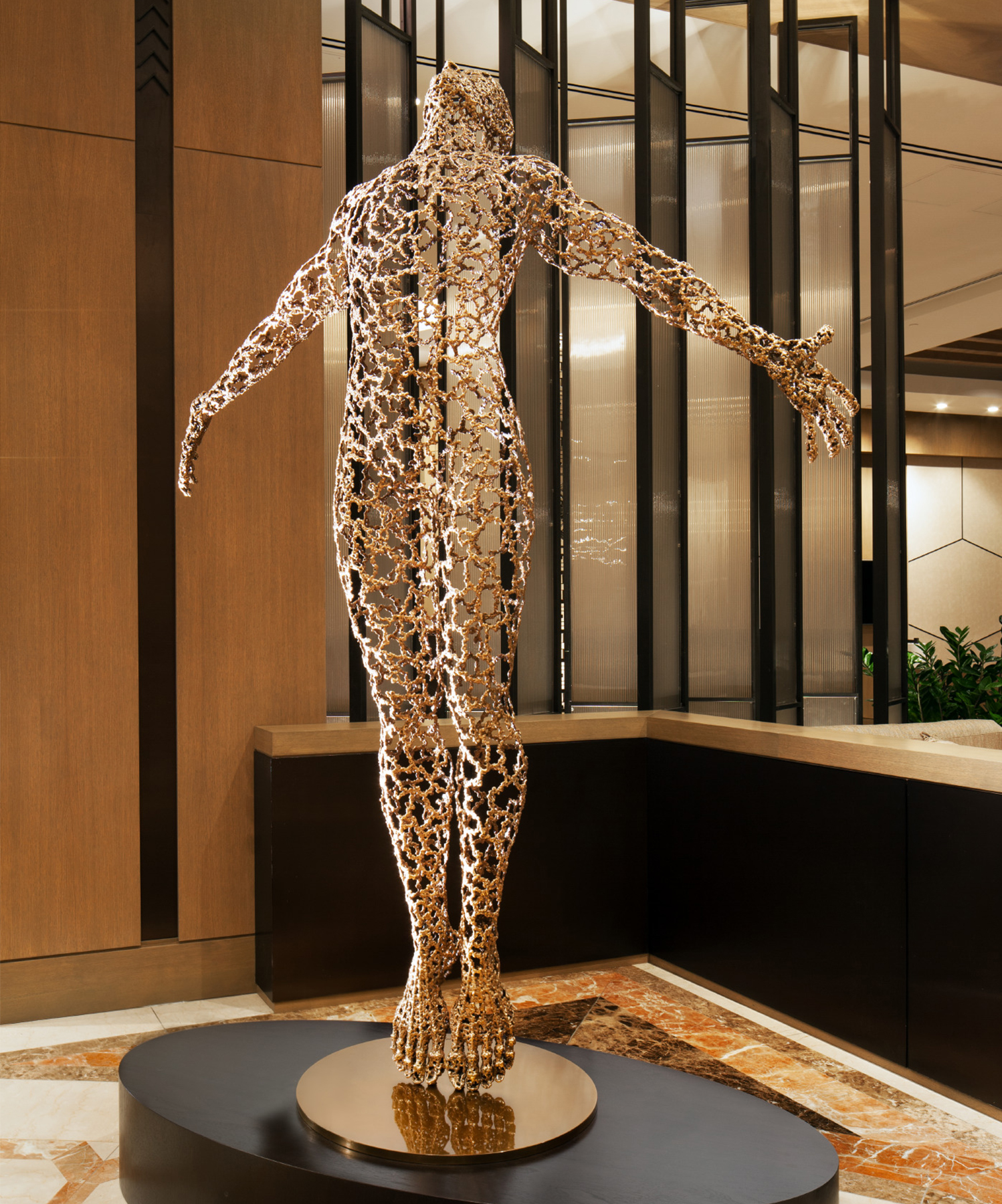 The focal piece in the main lobby is a commissioned metal sculpture.