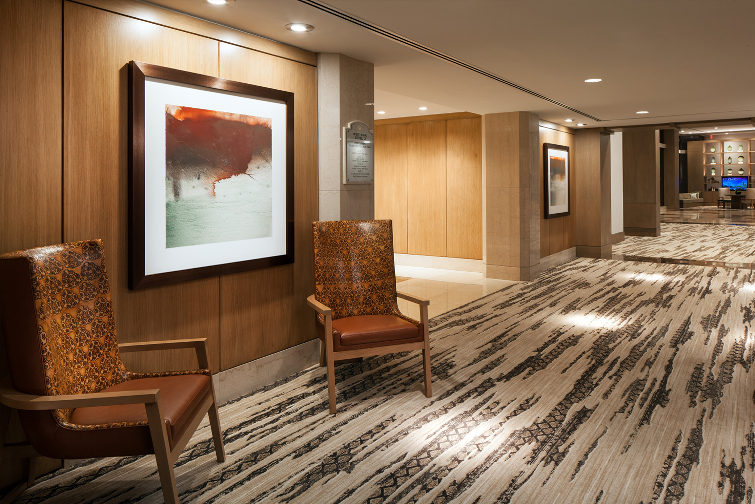 The artwork in the main lobby is inspired by the relationship of day and night in the Sonoran Desert, and the transitional times between the two periods.