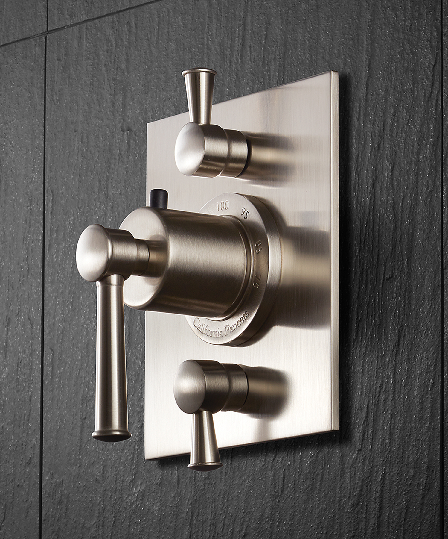 The ½-inch thermostatic rough valve is made with forged brass and includes stops and check valves.