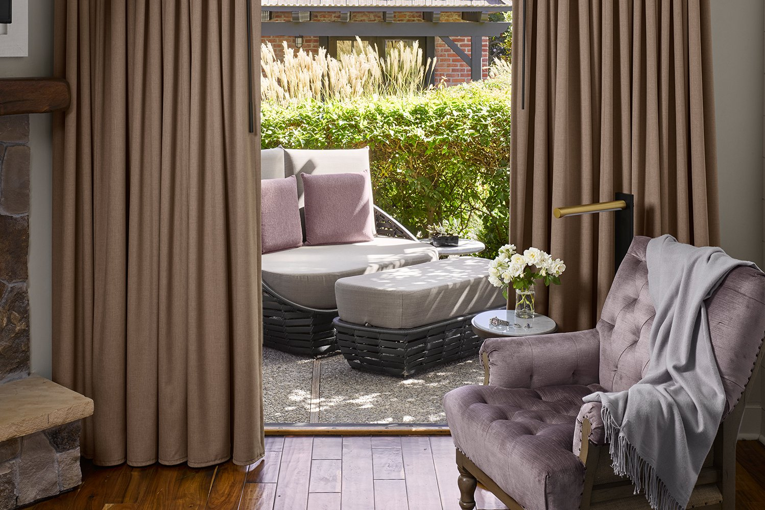 Vintage House's interiors use a color palette including gray and lavender, with subtle nods to the property's location.