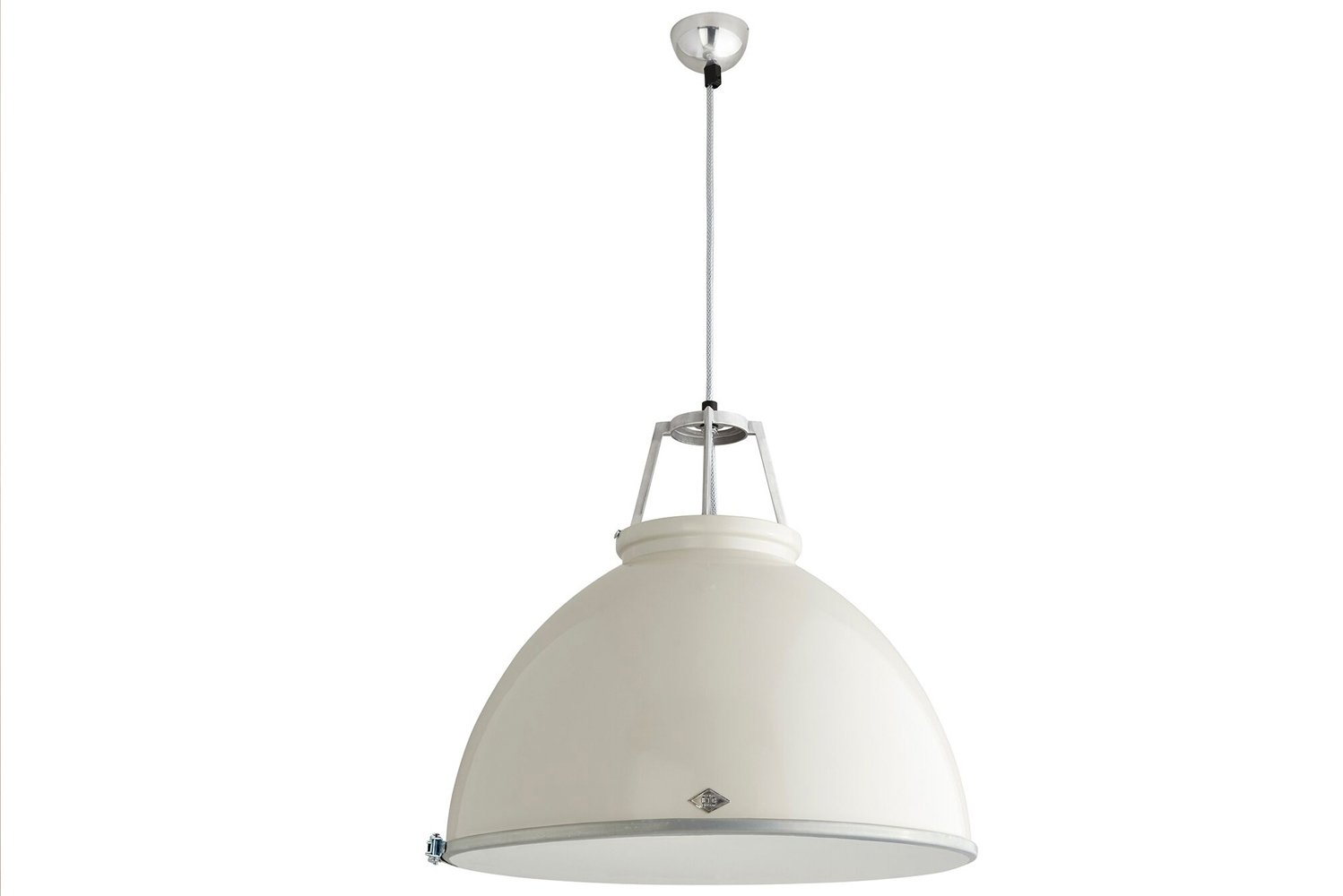 The hard shell of the pendant can be done up in a lightly polished, natural aluminum state, or be painted.