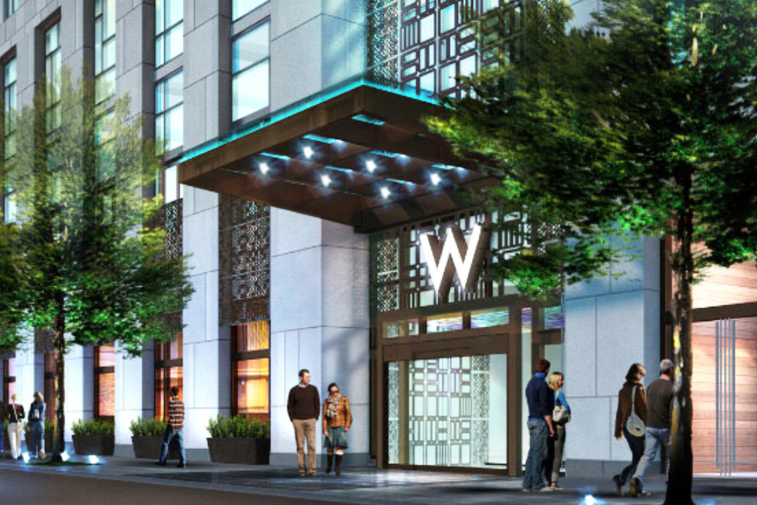 The W Philadelphia and Element Philadelphia Hotel are two distinctive brands designed within a single tower.