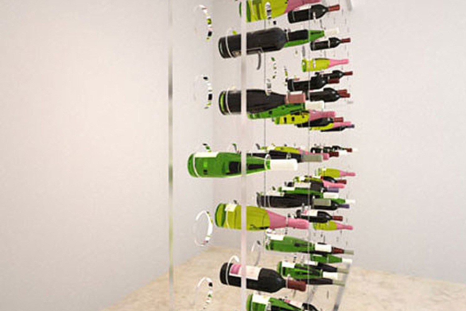 The Invisible wine rack series uses sturdy 1/2-inch thick, clear acrylic that gives it a transparent look.