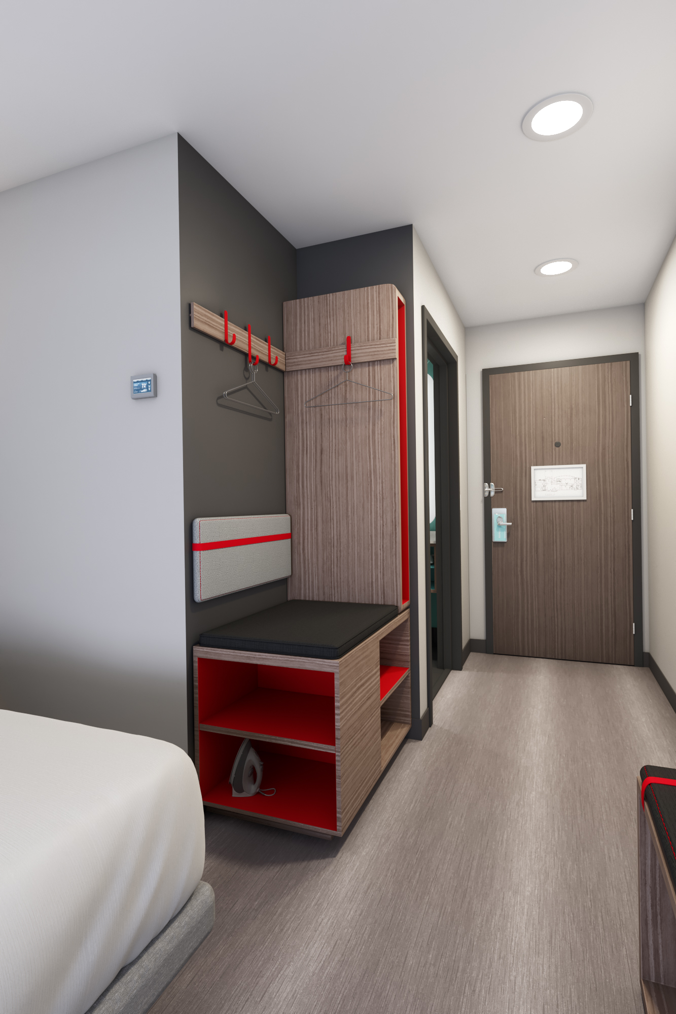 IHG's upcoming Avid brand has an open closet with shelves for storage.