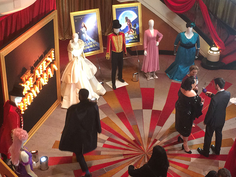 A red carpet with costumes from the show was set up in the ship's atrium