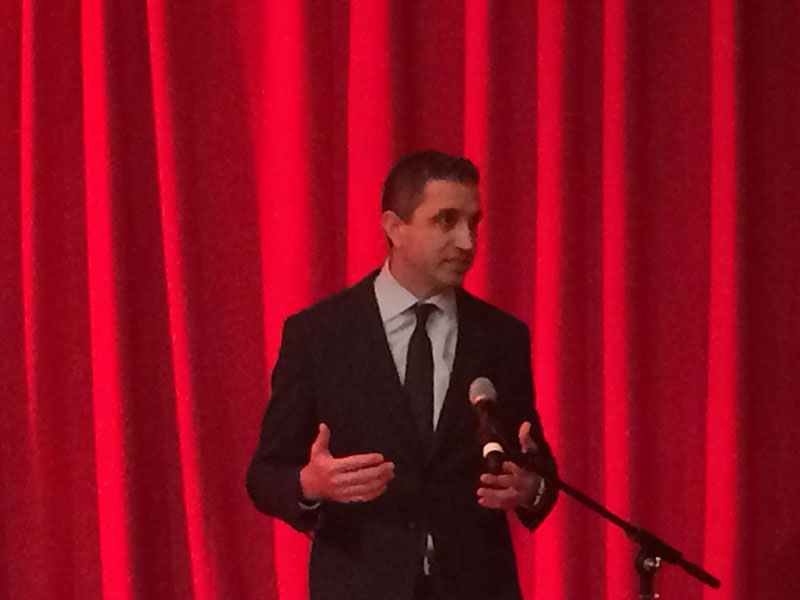 Cunard SVP Josh Leibowitz welcomed celebrities, executives and other attendees to the reception