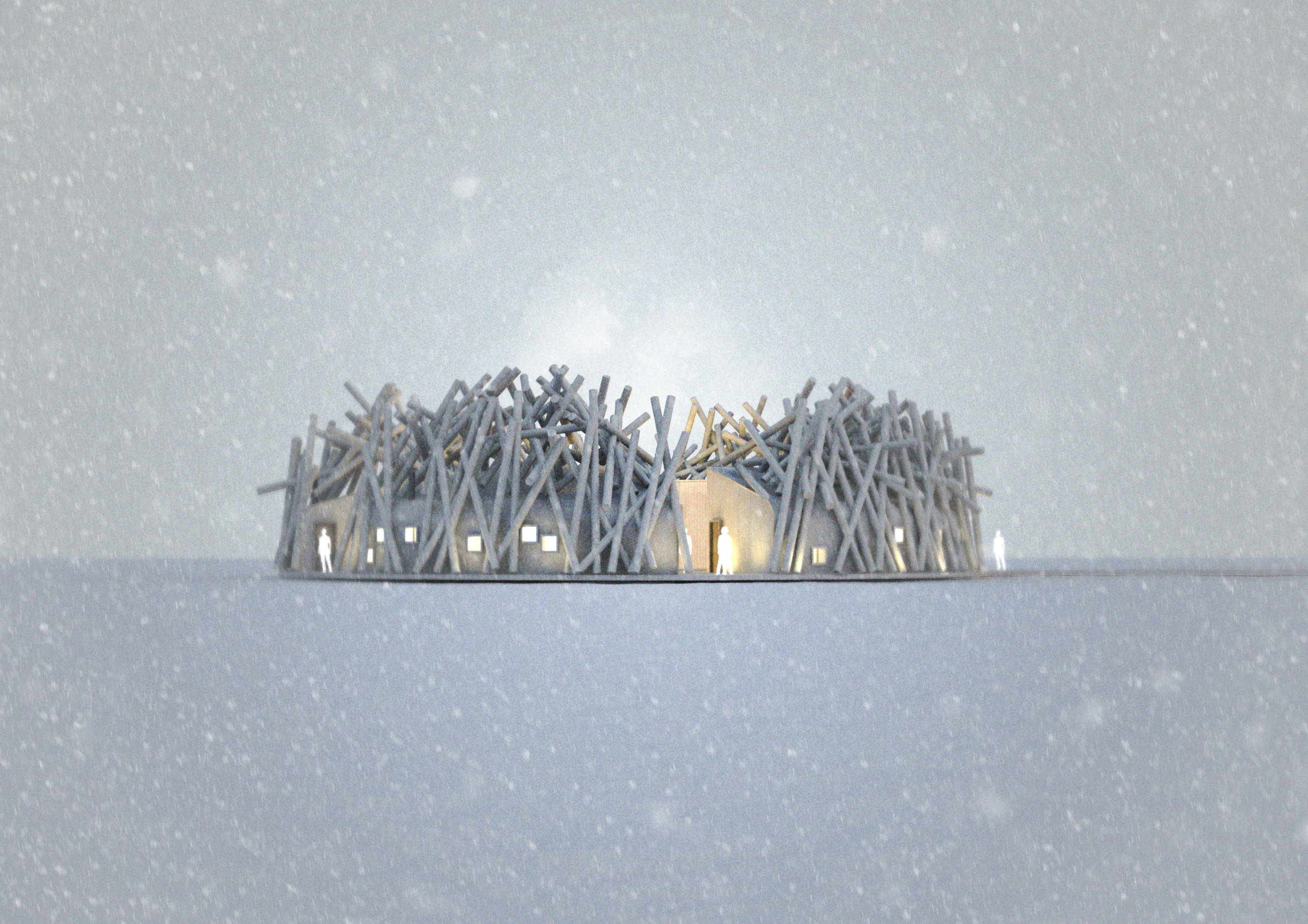 Rendering of the side view of The Arctic Bath Hotel and Spa in the winter.