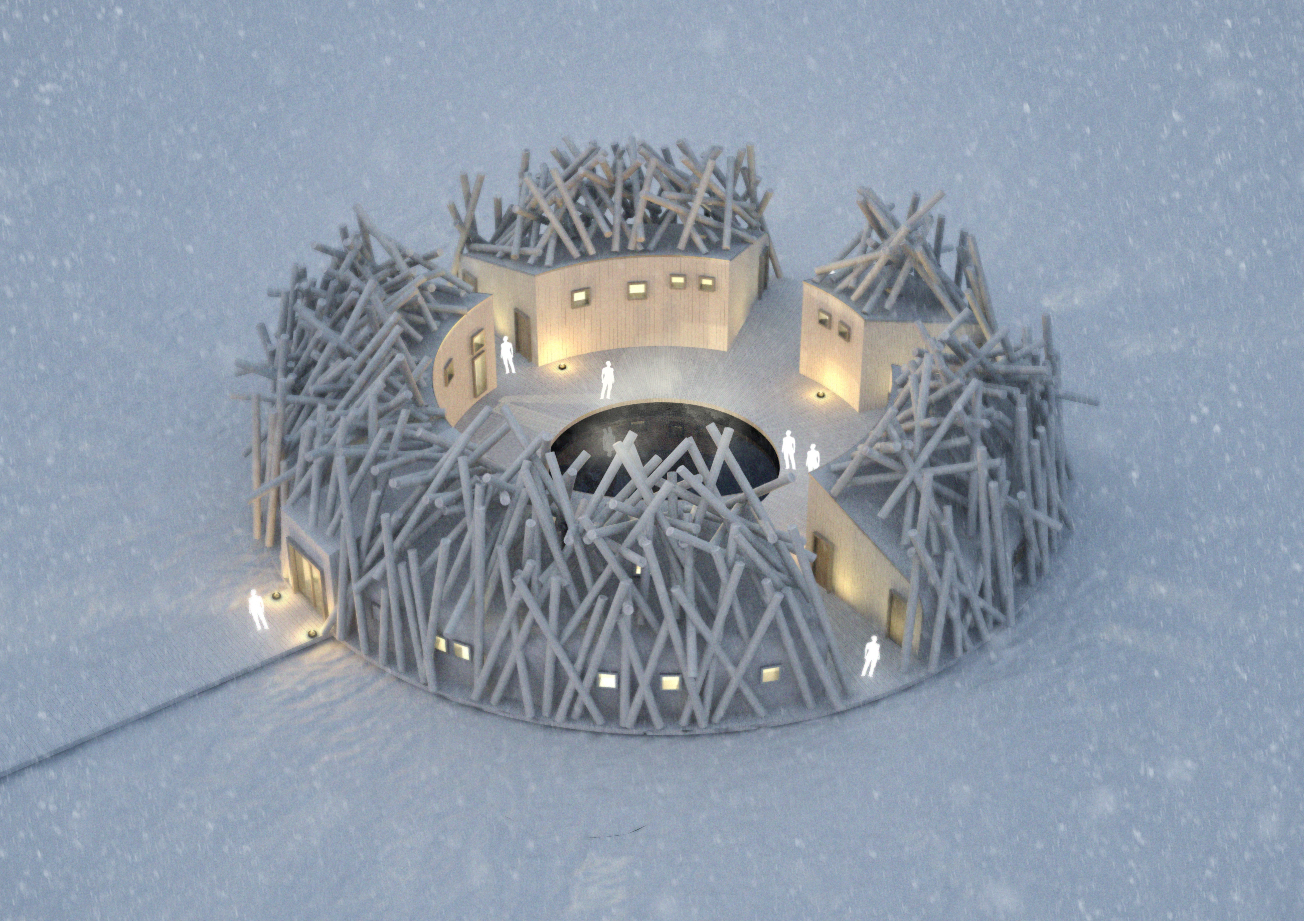 Rendering of an aerial view of The Arctic Bath Hotel and Spa in the winter.