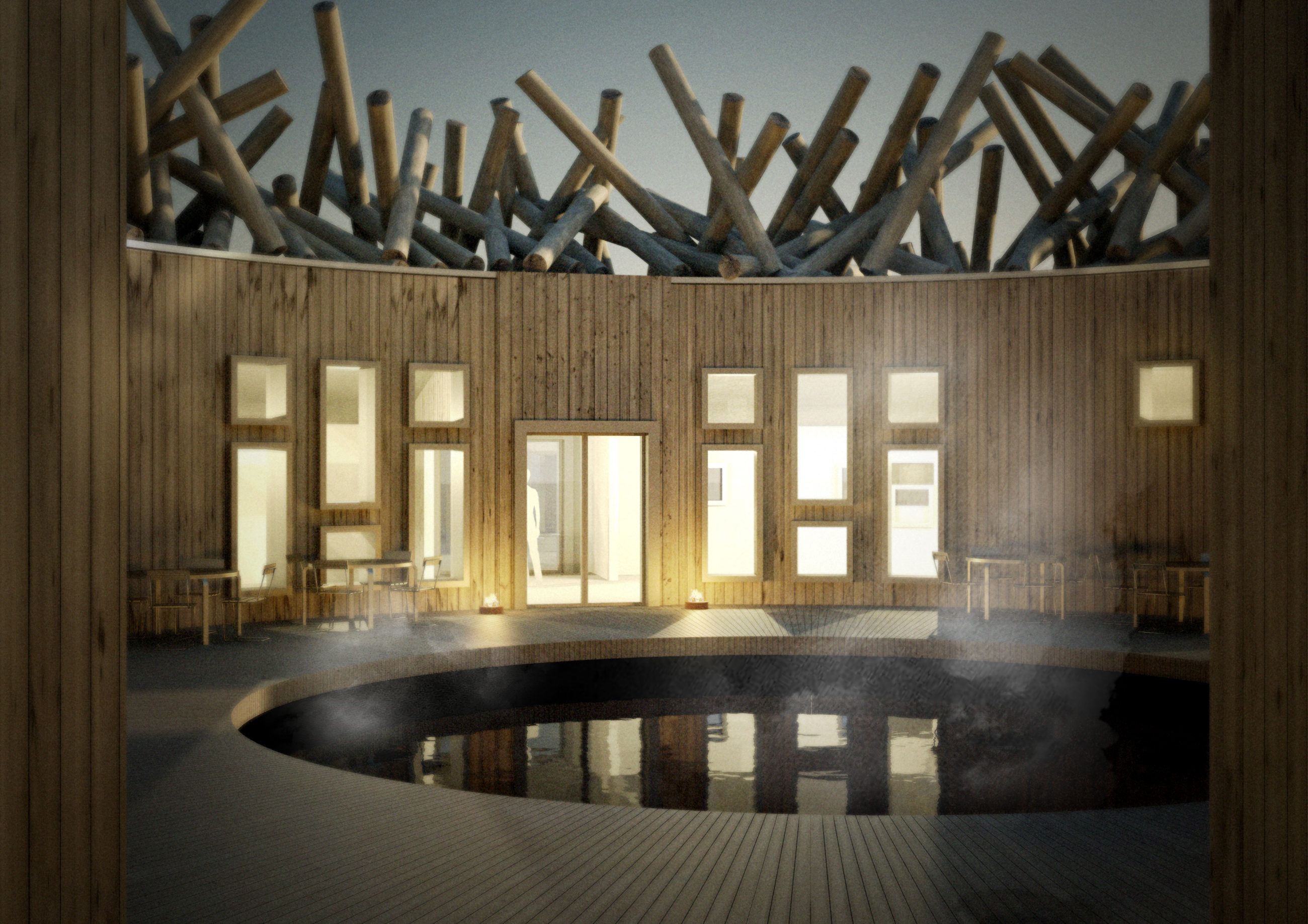 Rendering of the patio at The Arctic Bath Hotel and Spa
