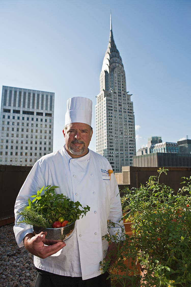 Chef Brian Wieler at the Westin New York Grand Central's rooftop garden.