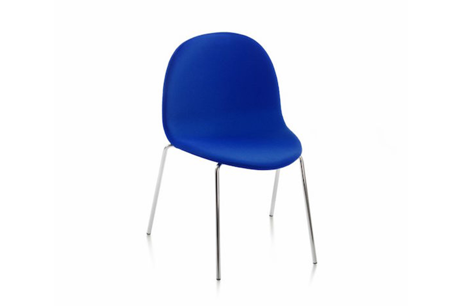 Etabeta is made of plywood with metal piping for the legs, and each chair is designed to be stackable.
