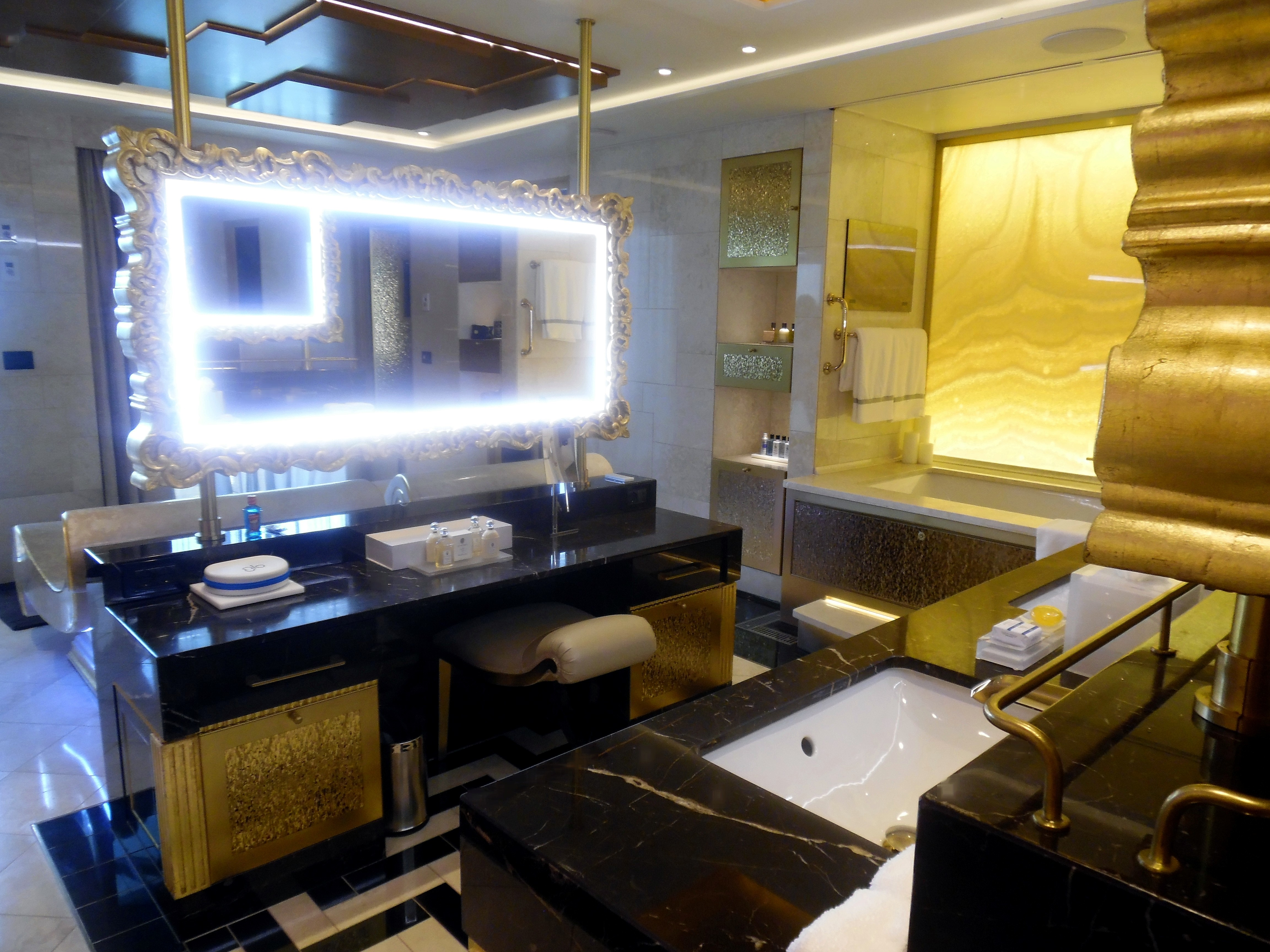 Master Bedroom Complex: The master bathroom has a large make-up counter and, opposite that, dual sinks.