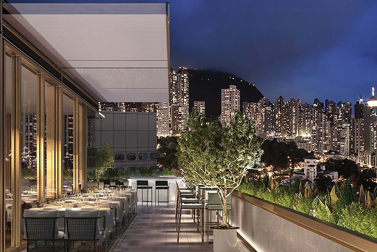 There is a rooftop bar with views of the business district's skyline and The Peak.