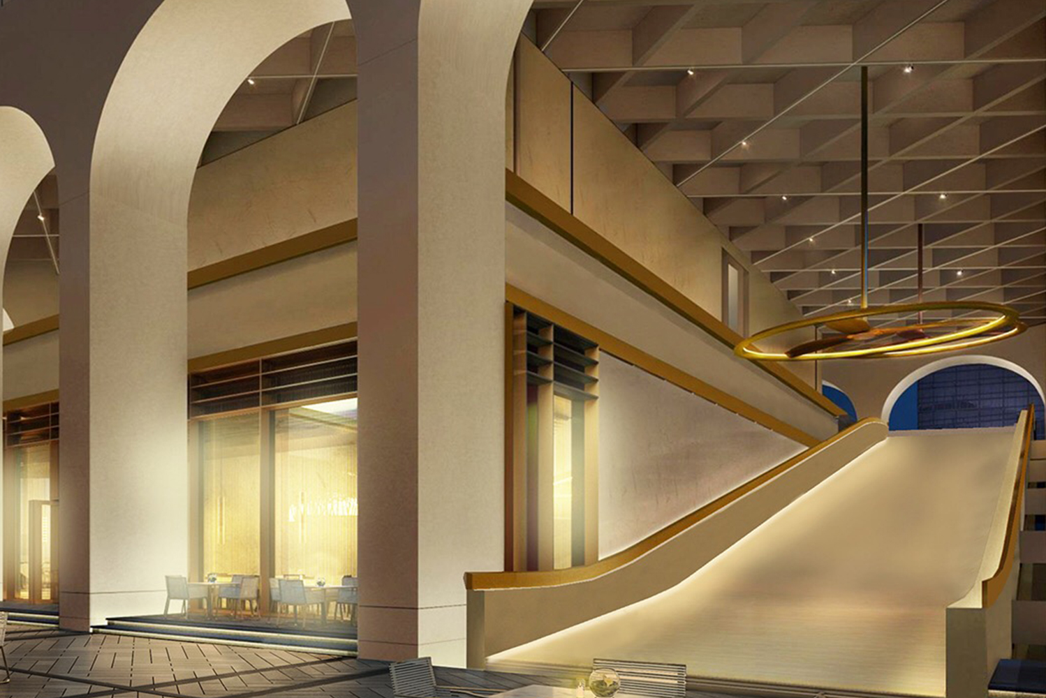 The hotel's terraces around the arches, an architectural signature of the building, also showcase views of the city, Hong Kong Park and Hong Kong Zoological and Botanical Gardens.