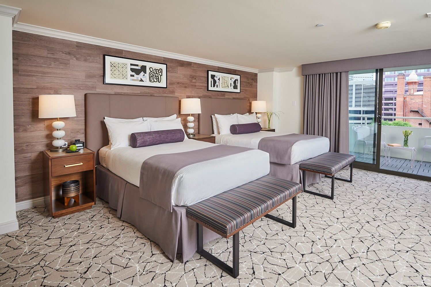 Each room or suite has an outdoor balcony (measuring 120 square feet), overlooking the downtown skyline or the Denver cityscape.