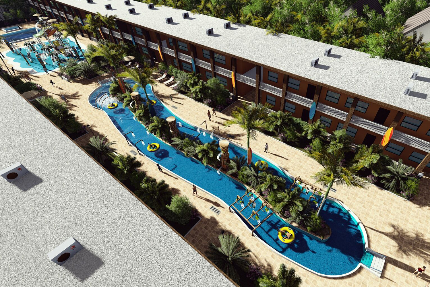 The new centerpiece of the beachfront resort will be complimentary guest access to a 75,000-gallon tropical-themed waterpark.