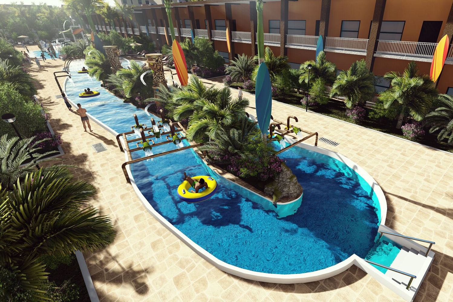 The waterpark will have action slides, a splash pad and a 335-foot lazy river.