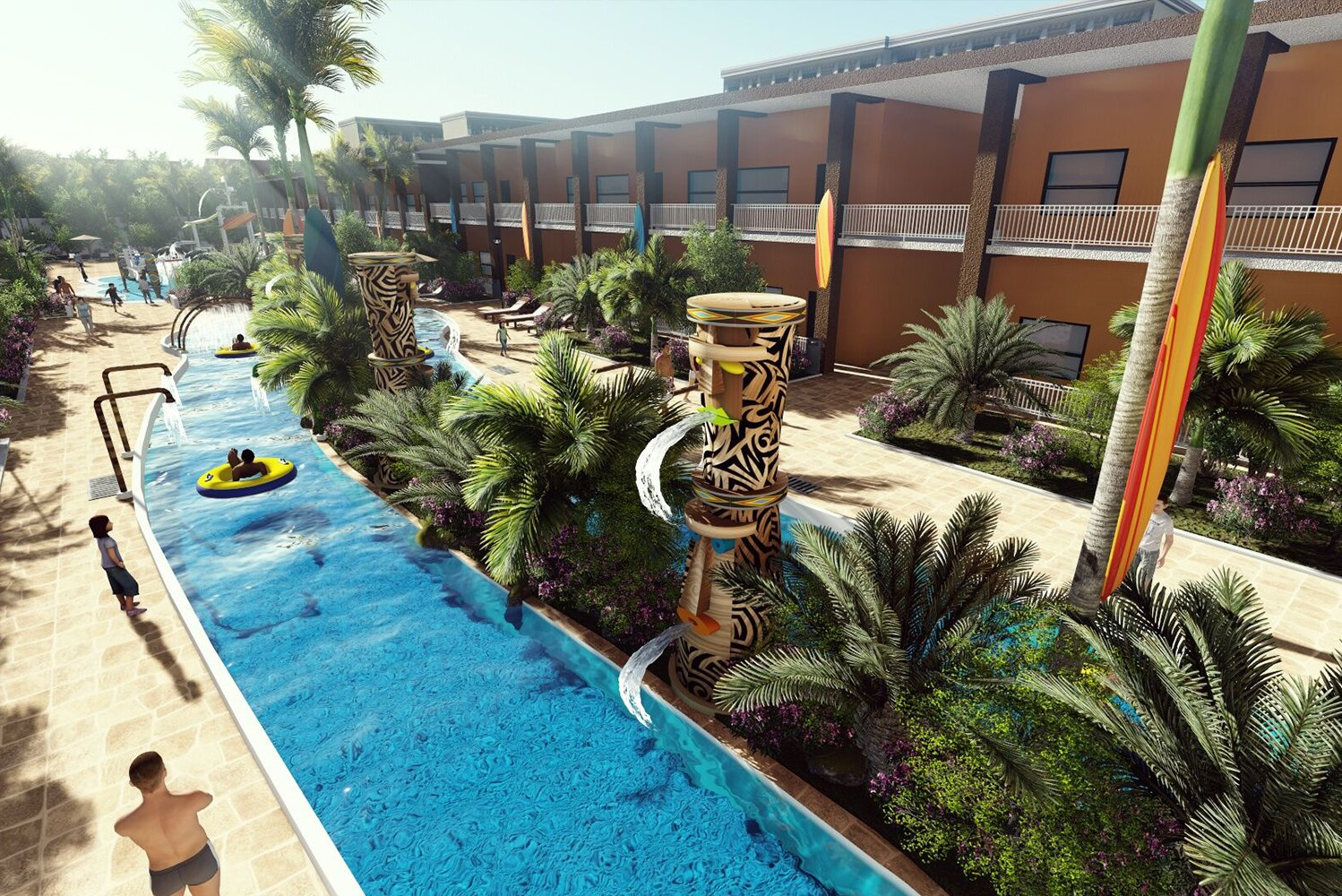The waterpark will have tropical landscaping and surfing themed décor.