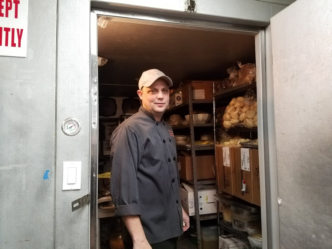 Executive Chef Donald Roe showed me the the walk-in refrigerator.