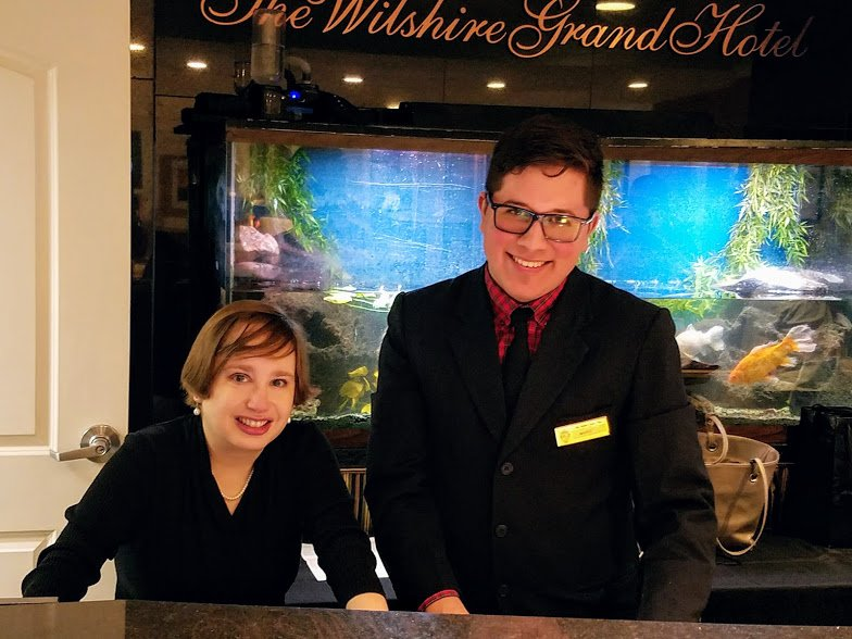 Mario Cajas guided me through the process of making a reservation at the front desk.