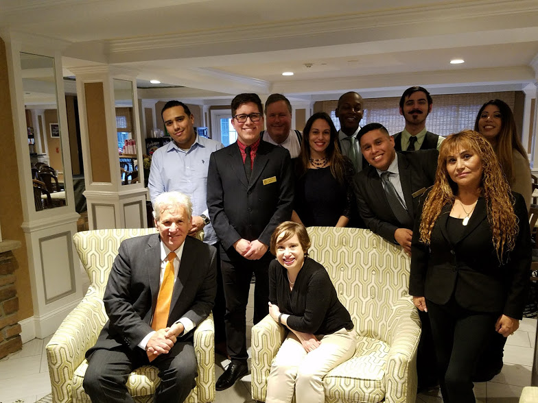Some of the team members at the Wilshire Grand, and one very exhausted intern.