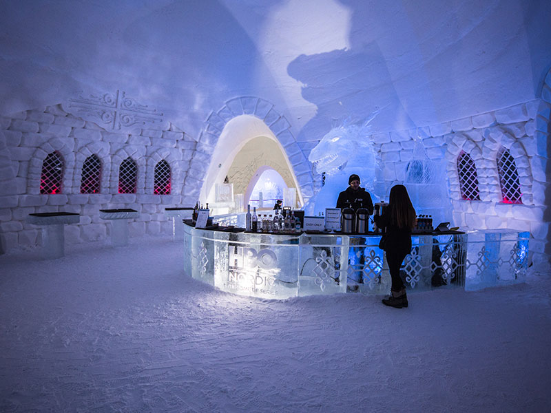 Guests can grab a cocktail at the Ice Bar.