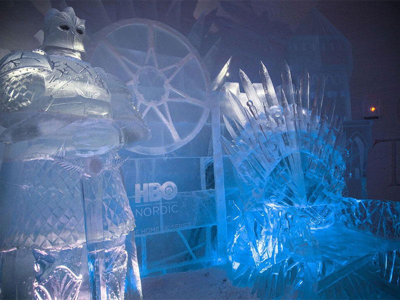 An Iron Throne replica is made entirely of ice.