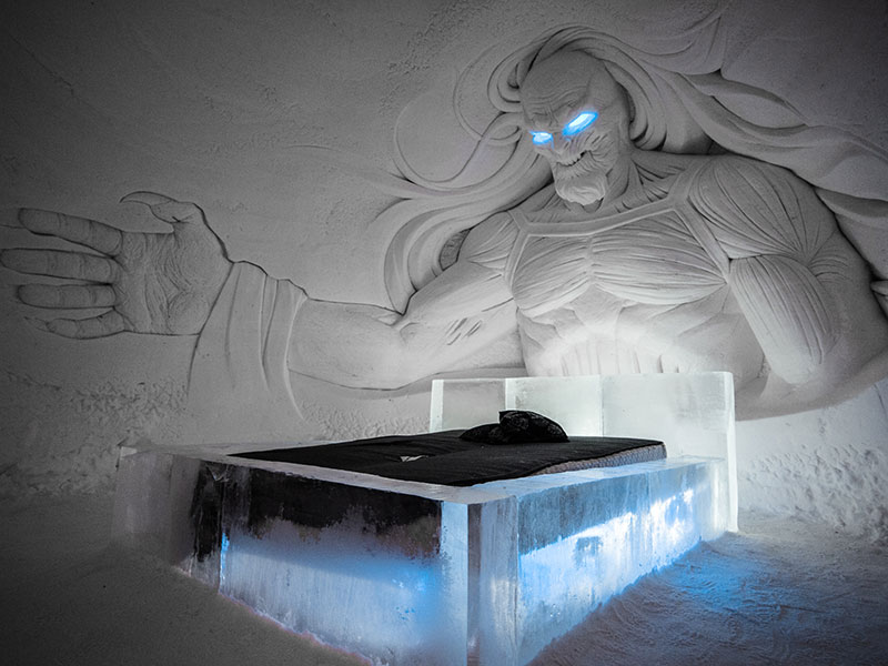 One of the themed suites has a white walker looming over the bed.