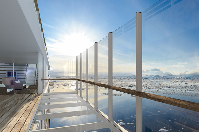 A glass balcony will have a glass balcony extending outward from the sundeck, 15 meters above the water. // Photo by Hapag-Lloyd Cruises