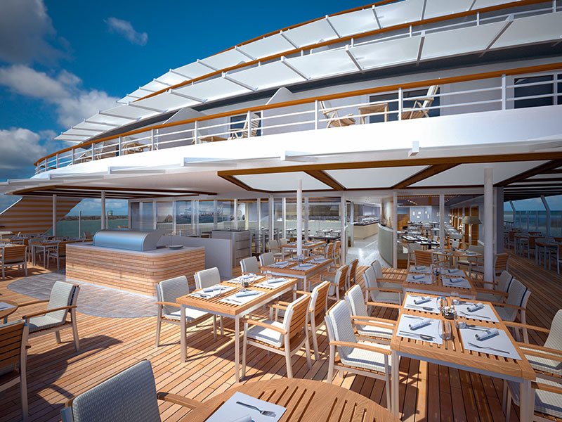 The bistro restaurant will have 100 outdoor seats // Photo by Hapag-Lloyd Cruises