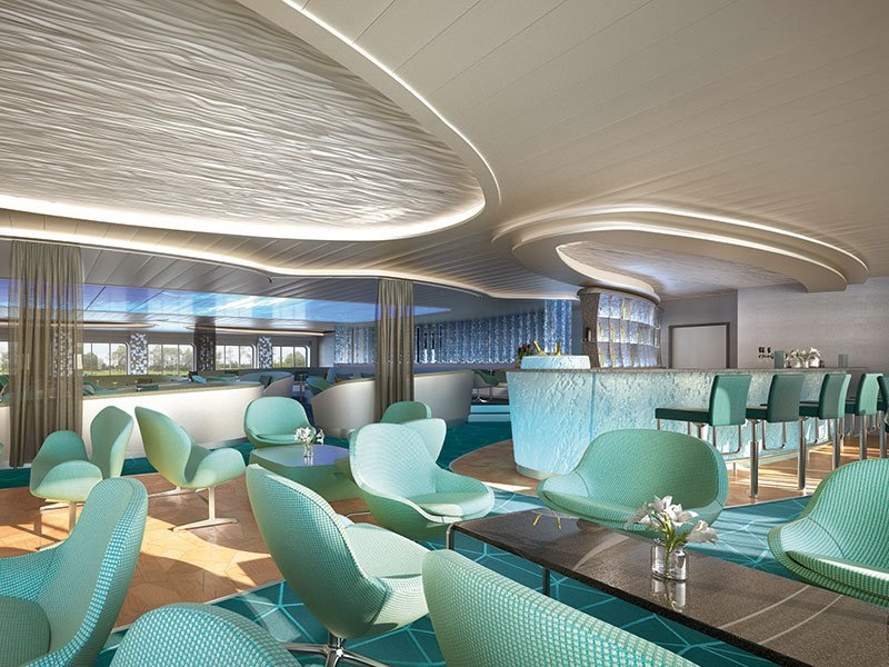 A bar between the Observation Lounge and HanseAtrium will have panoramic views // Photo by Hapag-Lloyd Cruises