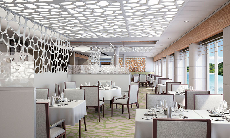 There will be flexible seating in the main restaurant // Photo by Hapag-Lloyd Cruises