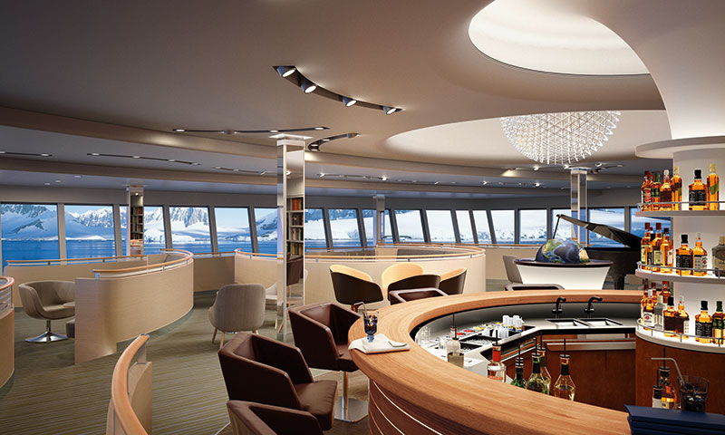 The Observation Lounge will offer 180 degree views // Photo by Hapag-Lloyd Cruises