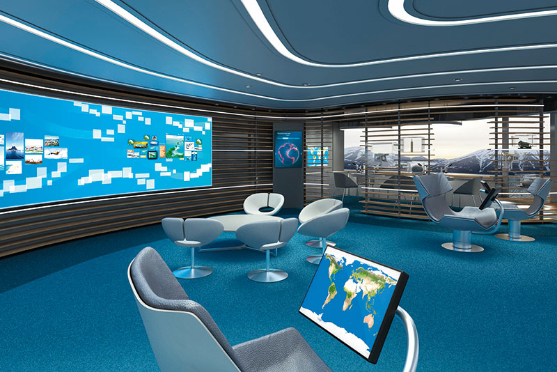 In the Ocean Academy, guests can learn about their destination on a large touchscreen multimedia wall. // Photo by Hapag-Lloyd Cruises