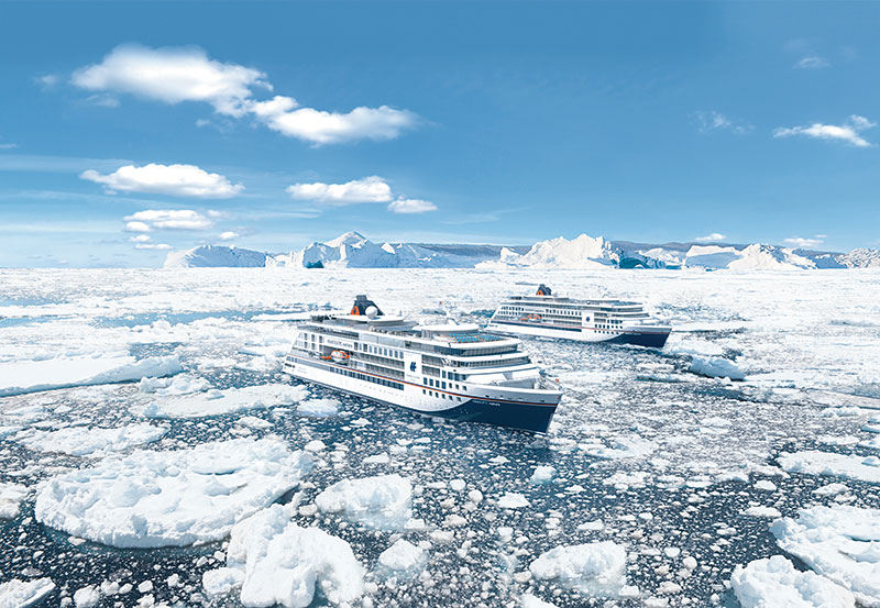 The new expedition ships will have a signature blue design on the bow. // Photo by Hapag-Lloyd Cruises