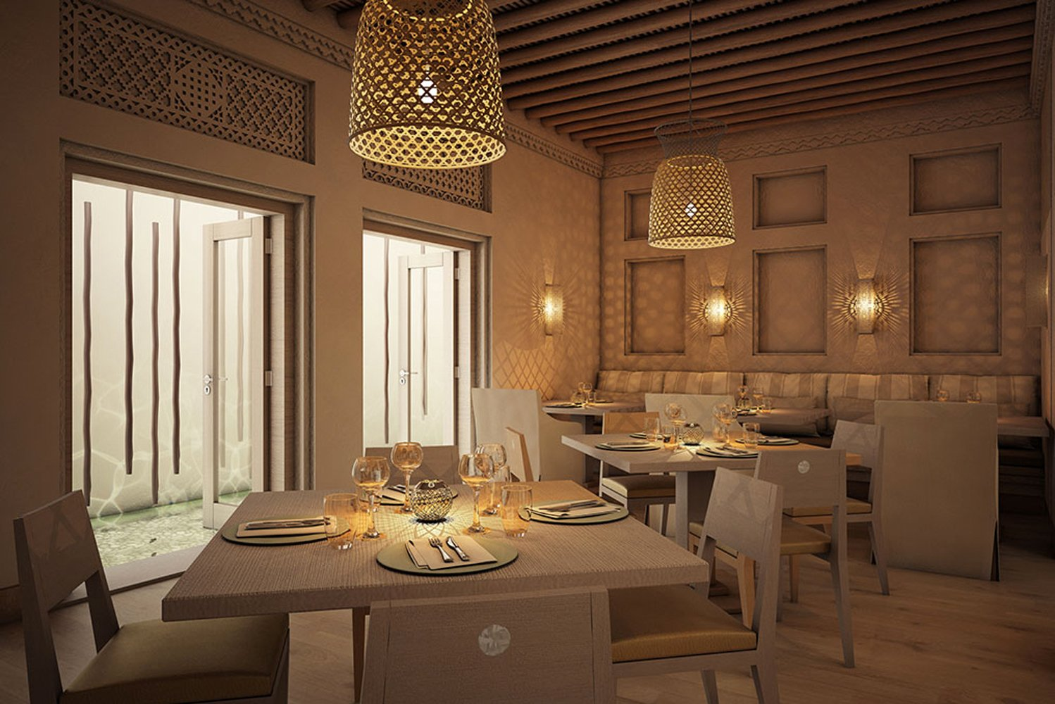 The architecture and interior design reflect the influence of Arabic culture, and mirror the aesthetic of the surrounding buildings in the district.