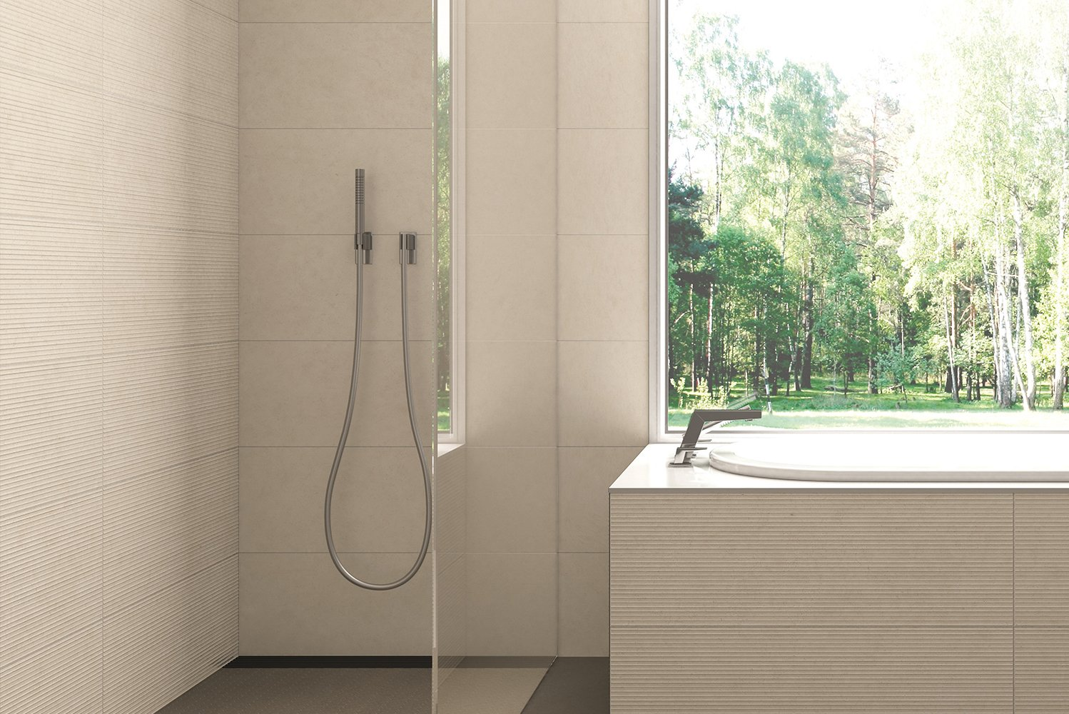 The tile's grains and fossil spots have subtle variations between mattes and glosses to mimic real Catalan limestone.