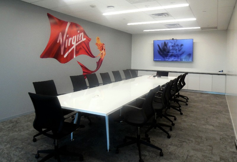 One of the conference rooms in the new Virgin Voyages headquarters' offices in Plantation, FL.