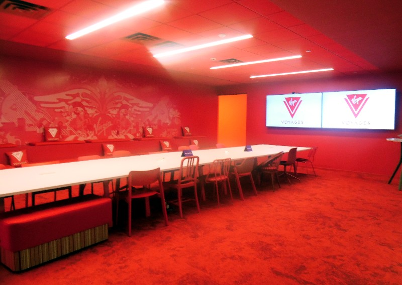 This colorful conference/event space is what visitors see as they enter the Virgin Voyages' offices; it's adjacent to the reception area.