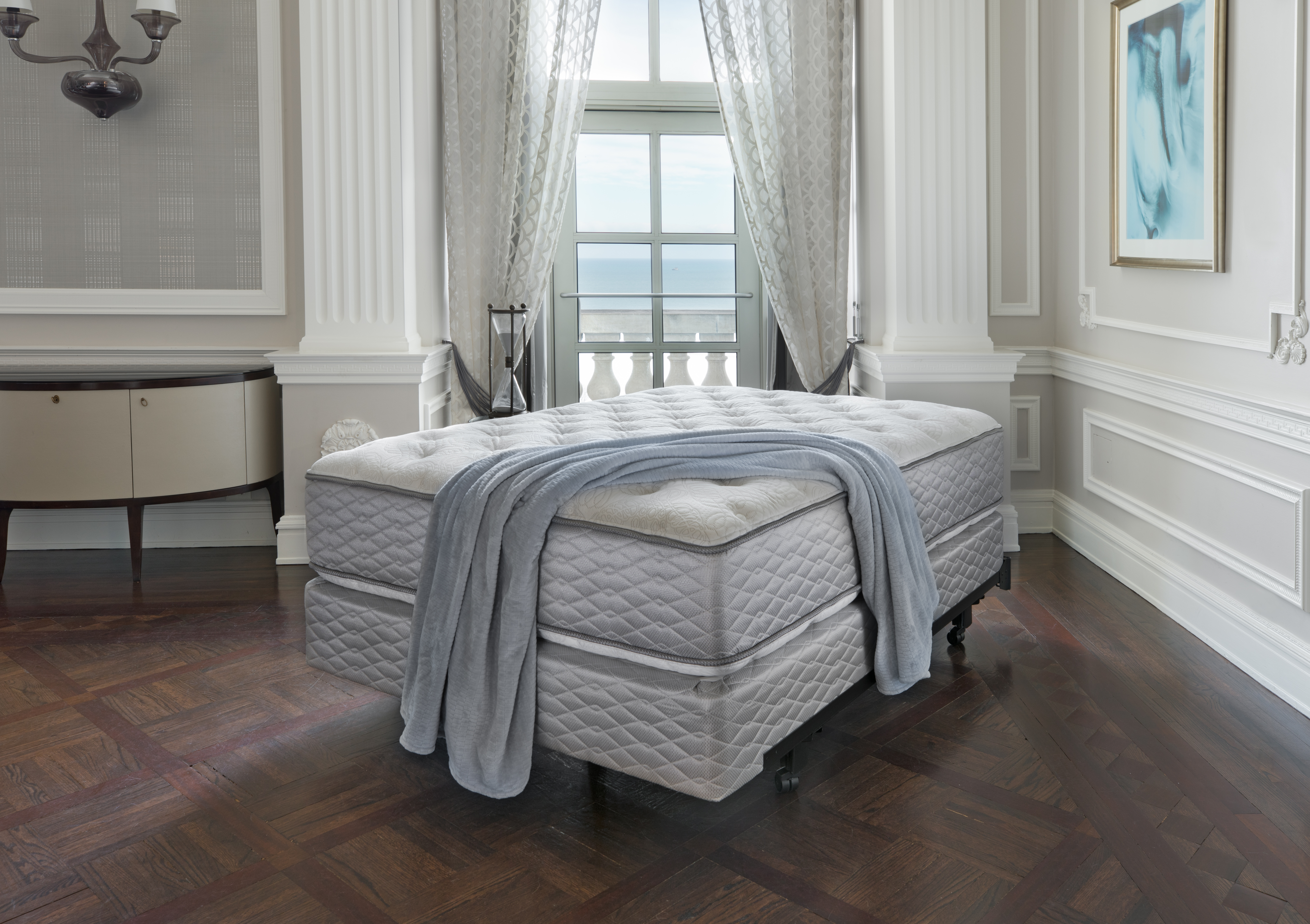 Serta's innerspring mattress is made with a steel coil innerspring support system, with foams and fibers on top.