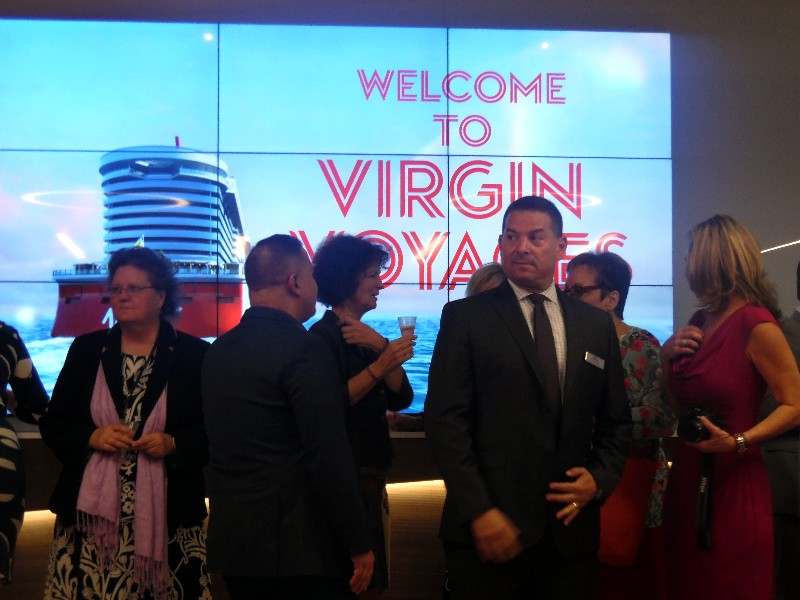 Local VIPs, travel industry officials, travel agency executives and media attended the Virgin Voyages reception.