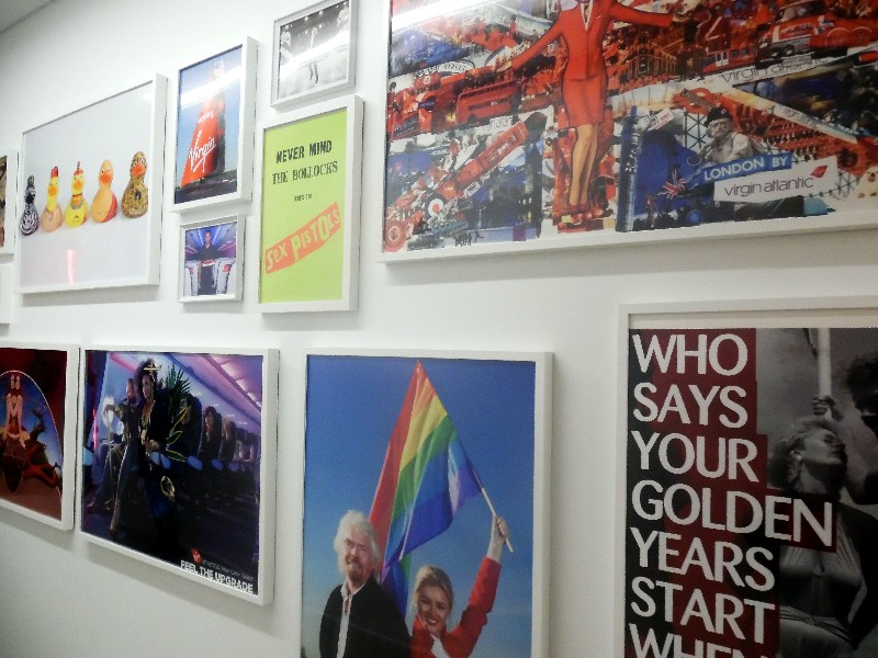 The walls are lined with art that reflects Sir Richard Branson's past projects and passions