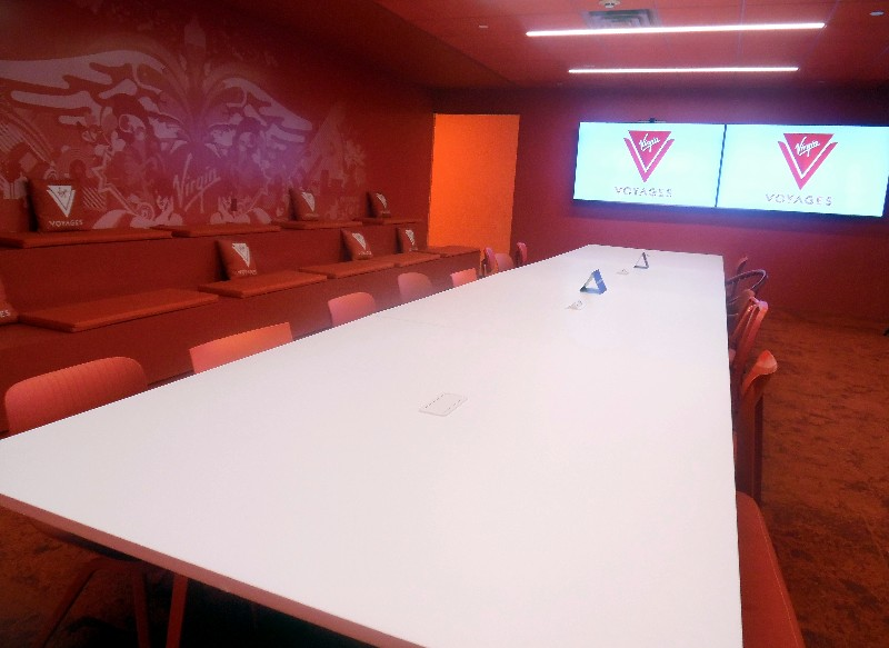 Just inside the entry door to Virgin Voyages' offices is this large conference/event space.