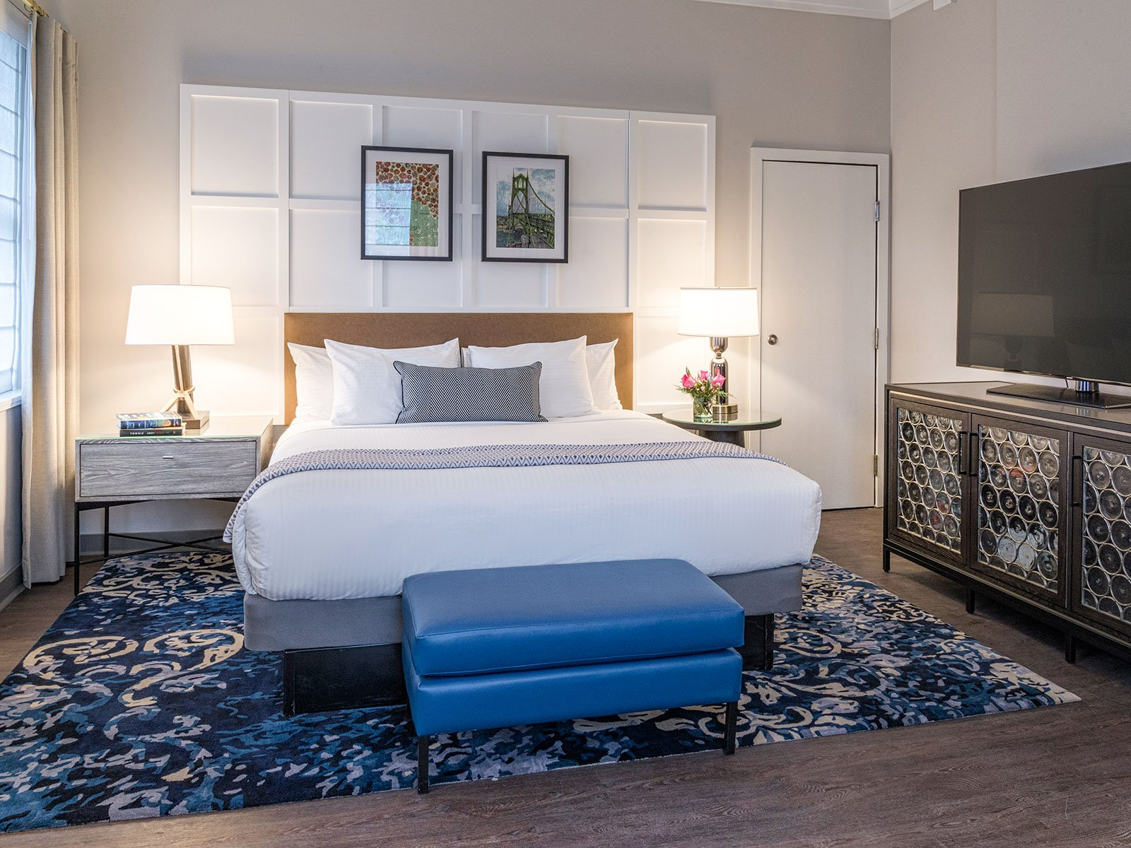 Guestrooms include work from local artists.