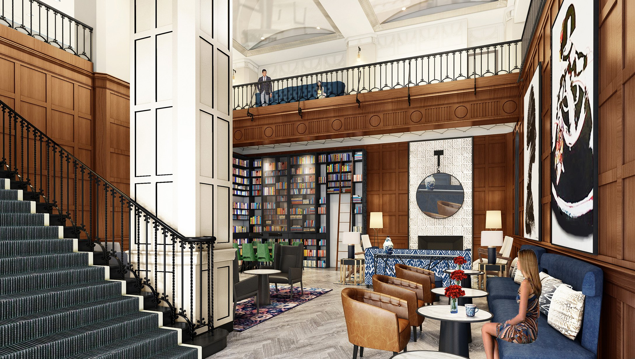 A new grand bookcase that covers the full height of the room will showcase the hotel's library of autographed books.