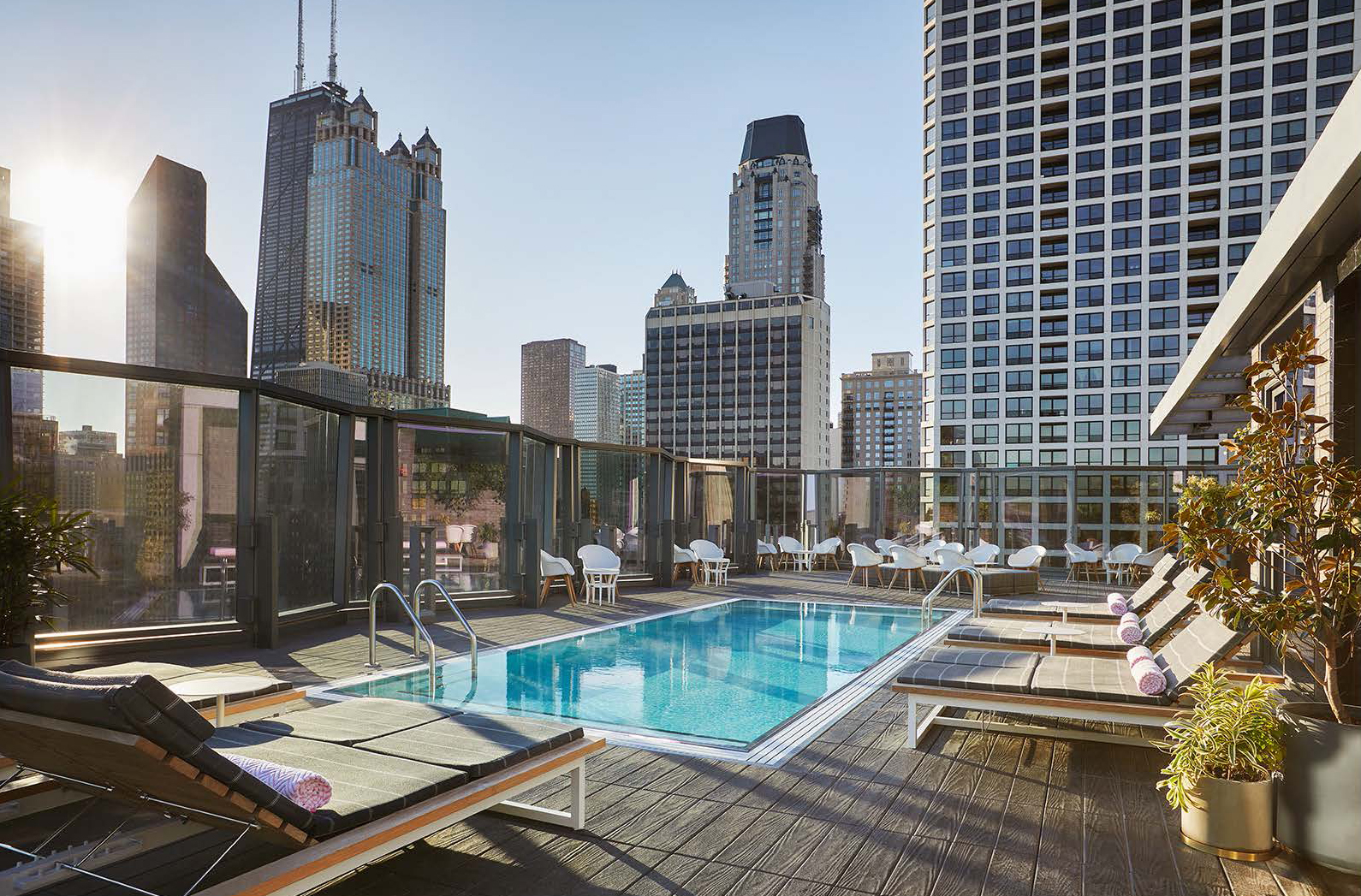 The rooftop lounge, Devereaux, helmed by Boka Restaurant Group, offers an outdoor pool and landscaped terrace, with views of Lake Michigan and the Chicago skyline.