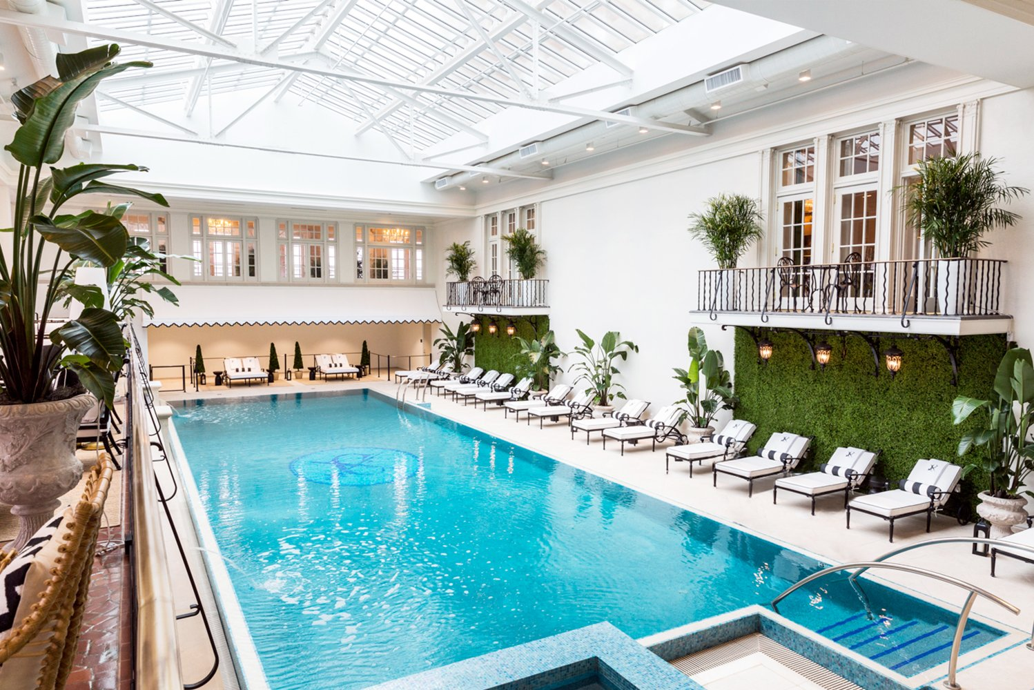 """The indoor salt water pool and glass rotunda once known as """"The Plunge"""" were also renovated. Photo credit: Ashley Lester Photo, courtesy of The Cavalier Hotel"""