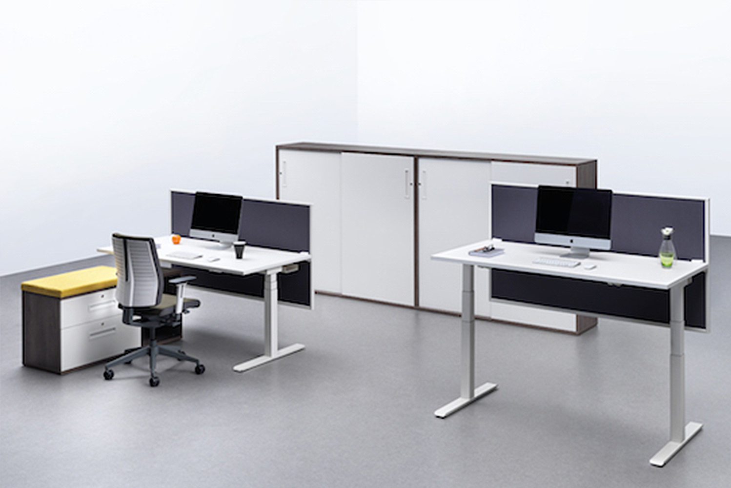 Chemistry can be manufactured with one of two leg styles, and sliding desktops are available as a means to help hide integrated cable management systems.