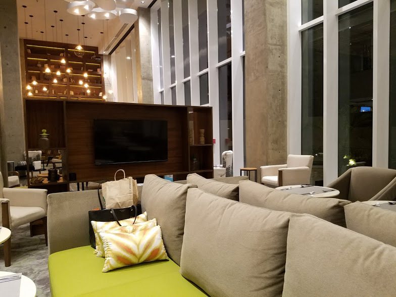 The lobby was designed to evoke a rural barn with some industrial elements.